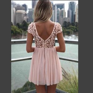 Xenia Peach Pink Crochet Floral Lace Top Dress XS